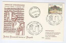 1987 Italy FENAROLI   EVENT COVER Postcard Stamps Music Laciano - Music