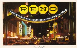 Nevada Reno At Night From The Arch Looking Down Virginia Street