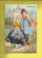 Carte Postale Brodée D' Enfants En Costumes Du Pays CHARENTAIS - France