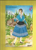 Carte Postale Brodée D' Une LANDAISE  Et Sa Quenouille  + écusson En Haut à Droite - France