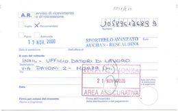 2002 RARO TIMBRO MILANO SPORTELLO AVANZATO AUCHAN RESCALDINA SU AVVISO RICEVIMENTO RACC. 17.11.00 (8846) - 6. 1946-.. Repubblica