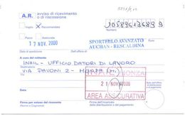 2002 RARO TIMBRO MILANO SPORTELLO AVANZATO AUCHAN RESCALDINA SU AVVISO RICEVIMENTO RACC. 17.11.00 (8846) - 2001-10: Storia Postale