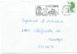 ENVELOPPE FLAMME LA FERTE BERNARD SARTHE/ SA PORTE ST JULIEN SON EGLISE / 1986 - Marcophilie (Lettres)