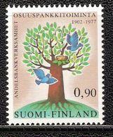 Finland 1977 Cooperative Banks, Tree With Bird's Nest, Birds, Mi 809 MNH(**) - Finlande