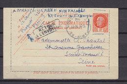 FRANCE 1944 CL PNEUMATIQUE DEMONETISEE ET RETOURNEE A L'ENVOYEUR - Pneumatische Post