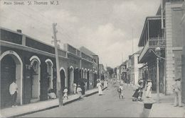 Danish West Indies, Scott #31 Pair On 1908 Main Street, St. Thomas, Postcard, Very Fine - Danish West Indies