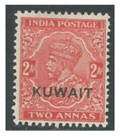 KUWAIT Two Anna Red Stamp Great Britain Postage 1934 -1937 King George V - India Postage 1926-1935 Overprinted MH - Koweït