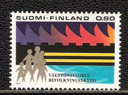 Finland 1977 Civil Protection, Family In Front Of Protective Wall Mi 813 MNH(**) - Finlande