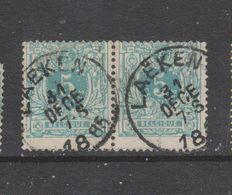 COB 45 Oblitéré LAEKEN En Paire Catalogue COBA +4 - 1869-1888 Lion Couché