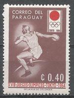Paraguay 1964. Scott #794 (M) Summer Olympics Tokyo, Discus - Paraguay
