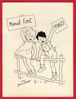 -- CARTON DOUBLE - MARCEL FORT(Animateur à La Radio) - ILLUSTRATION D'après GERMAINE BOURET - - Bouret, Germaine