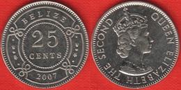"""Belize 25 Cents 2007 Km#36 """"Elizabeth II, 1st Portrait"""" UNC - Belize"""