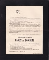 HABAY-LA-NEUVE Alfred Baron De BONHOME Verviers 1831 Habay 1911 Famille COGELS De RADZITZKY - Obituary Notices