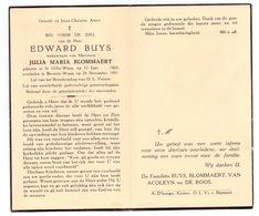 Devotie - Devotion - Edward Buys - Sint-Gillis-Waas 1865 - Beveren-Waas 1951 - Blommaert - Obituary Notices