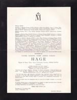 COURTRAI ETTERBEEK Xavier HAGE époux DIERCXSENS Avocat Greffier Cour Honoraire Enterré LIEZELE 1889-1963 - Obituary Notices