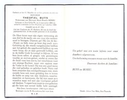 Devotie - Devotion - Theofiel Buys - Sint-Gillis-Waas 1883 - Sint-Pauwels 1963 - Mossu - Obituary Notices