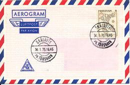 Faroe Islands Aerogramme Postmarked First Day Of Issue Skalavik Pr. Torshavn 30-1-1975 - Faroe Islands