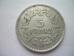 MONNAIE ..FRANCE 5 FRANCS 1945 B LAVRILLIER Aluminium.. 2 Scans - France