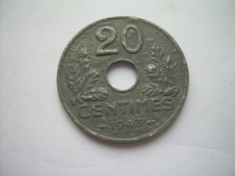 MONNAIE ..FRANCE 20 Centimes 1943 ETAT FRANCAIS Zinc.. 2 Scans - France