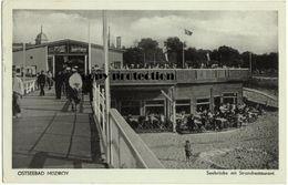 Ostseebad Misdroy, Seebrücke Mit Strandrestaurant, Alte Postkarte 1937 - Polen