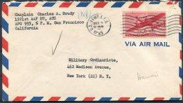 1945 USA Hawaii APO 953 US Army Airmail Cover - Militay Ordinariate, New York - Hawaii
