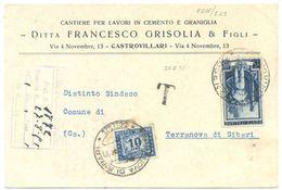 1951 SEGNATASSE L. 10 TERRANOVA C.P. 20.8.51 LAVORO L. 15 RARA COMBINAZIONE MONOCROMA (8866) - 1961-70: Storia Postale