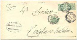 1926 LEONI C. 5 COPPIA+MICHETTI C. 20 PIEGO SPEZZANO GRANDE 1.10.26 BELLA COMBINAZIONE MONOCROMA (8868bis) - Storia Postale
