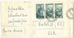 1951 LAVORO L. 10 COPPIA+AEREA L.100 BUSTA LETTERA AEREA X USA 29.11.51 BELLA MONOCROMA (8871) - 1946-60: Storia Postale