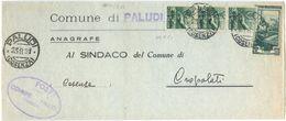1951 DEMOCRATICA L. 1x3+LAVORO L. 10 PIEGO TARIFFA RIDOTTA PALUDI 23.5.51 BELLA MISTA MONOCROMA (8870) - 6. 1946-.. Repubblica