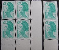 Lot 1455 - TYPE LIBERTE DE GANDON N°2181 - BLOC NEUF** COIN DATE : 21/09/83 - 1980-1989