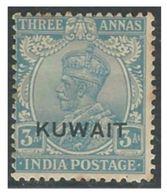 KUWAIT Three 3 Anna Ultramarine Stamp Great Britain 1929 -1937 King George - India Postage 1926-1935 Overprinted Mint HR - Kuwait