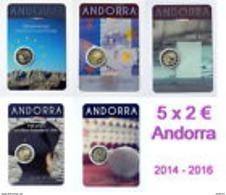 Andorre 2014 2015 Et 2016 : Lot Des 5 Pièces De 2€ Commémorative (en Coincard) - Disponible En France - Andorre