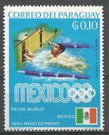 Paraguay 1969. Scott #1135 (M) Felipe Munoz, Mexico, 200-meter Breast Stroke, Gold Medal Winner - Paraguay