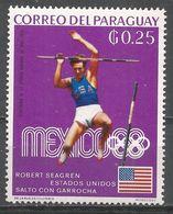 Paraguay 1969. Scott #1138 (M) Bob Seagren, US, Pole Vault, Gold Medal Winner - Paraguay