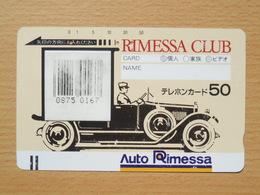 Japon Japan Free Front Bar, Balken Phonecard  / 110-6468 / Rimessa Club / With Bar Code On Card - Cars