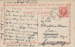 Danish West Indies, Scott #44 On Postcard Of Blackbeard's Castle, Sent From St. Thomas To Germany, Very Fine - Danish West Indies