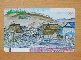 Japon Japan Free Front Bar, Balken Phonecard  / 110-6480 / Painture Dessin - Village - Peinture
