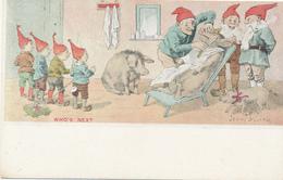 WHO'S NEXT, -- Barber Shop, Shaving, Pig, Elves (Gnomes), Children, - A/S Jenny Nyström, - Circa 1900, UDB - Illustrator - Maiali