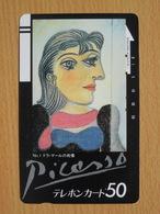 Japon Japan Free Front Bar, Balken Phonecard  / 110-6551 / Picasso - Peinture