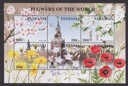 Tanzania, Scott #1583A, Mint Never Hinged, Flowers Of The World, Issued 1997 - Tanzania (1964-...)