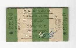 Ticket * Argentina * F. C. Belgrano * Retiro Rosario O. - Bus