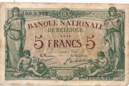 H17 - Billet - 5 FRANCS - BANQUE NATIONALE DE BELGIQUE - [ 2] 1831-... : Belgian Kingdom