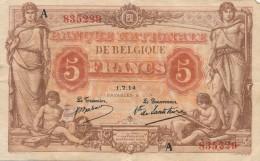 H17 - Billet - 5 FRANCS - BANQUE NATIONALE DE BELGIQUE - 1914 - [ 2] 1831-... : Belgian Kingdom