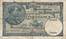H17 - Billet - 5 FRANCS - BANQUE NATIONALE DE BELGIQUE - 1922 - [ 2] 1831-... : Regno Del Belgio