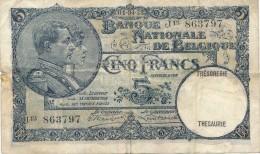 H17 - Billet - 5 FRANCS - BANQUE NATIONALE DE BELGIQUE - 1922 - [ 2] 1831-... : Belgian Kingdom