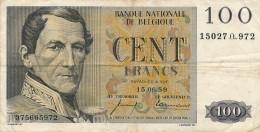 H17 - Billet - 100 FRANCS - BANQUE NATIONALE DE BELGIQUE - 1959 - [ 2] 1831-... : Regno Del Belgio