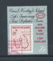 Cocos Keeling Island 1990 New Zealan Overprint On 70c Stamp Anniversary FU - Cocos (Keeling) Islands