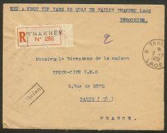 Indochine-Laos-Enveloppe-Recommandé De Thakhek Pour Paris - Laos