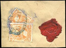 BOLIVIE 20 : 10c. Orange, Un Ex. + 1/2 Coupé En Diagonale Obl. Sur Fragt Avec Cachet De Cire, TB - Bolivia
