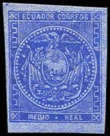 * EQUATEUR 1a : 1/2 Outremer Sur Azuré, TB - Ecuador